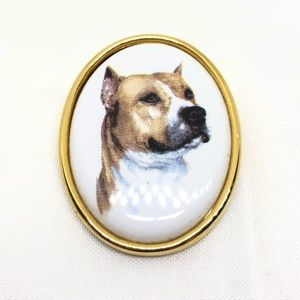 Jewelry - Staffordshire Bull Terrier Doggy Portrait Pin
